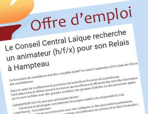 Le Conseil Central Laïque recherche un animateur (h/f/x) pour son Relais à Hampteau